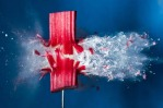High-speed pictures of the moment pellets fired from an air gun hit objects